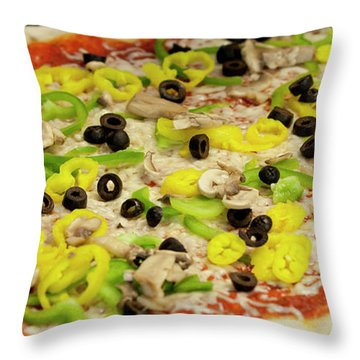 Pizza With Peppers Throw Pillow