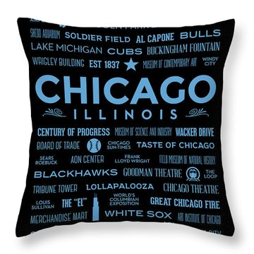 Throw Pillow featuring the digital art Places Of Chicago Blue On Black by Christopher Arndt