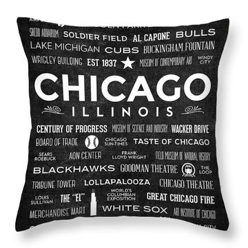 Throw Pillow featuring the digital art Places Of Chicago On Black Chalkboard by Christopher Arndt