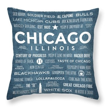 Throw Pillow featuring the digital art Places Of Chicago On Blue Chalkboard by Christopher Arndt