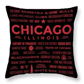 Throw Pillow featuring the digital art Places Of Chicago On Red On Black by Christopher Arndt