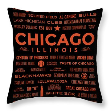 Throw Pillow featuring the digital art Places Of Chicago Orange On Black by Christopher Arndt