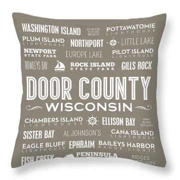 Throw Pillow featuring the digital art Places Of Door County On Brown by Christopher Arndt