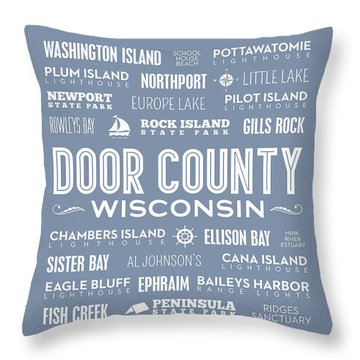 Throw Pillow featuring the digital art Places Of Door County On Light Blue by Christopher Arndt
