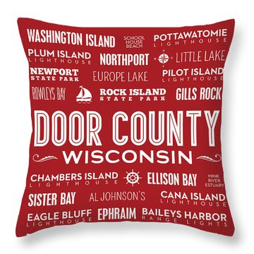 Places Of Door County On Red Throw Pillow by Christopher Arndt