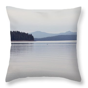 Placid Mountain Lake Throw Pillow by Cindy Garber Iverson