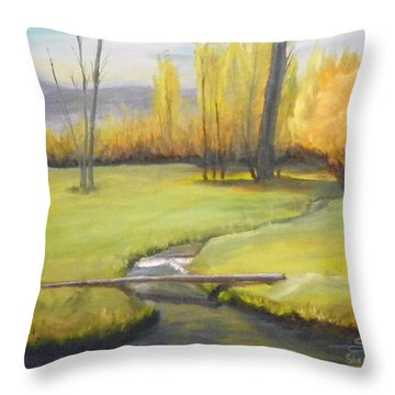 Placid Stream In Field Throw Pillow