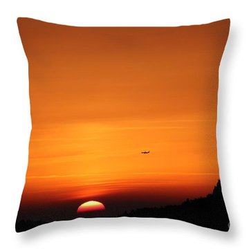Plain And Sunset  Throw Pillow