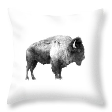 Throw Pillow featuring the photograph Plains Bison by Jim Sauchyn