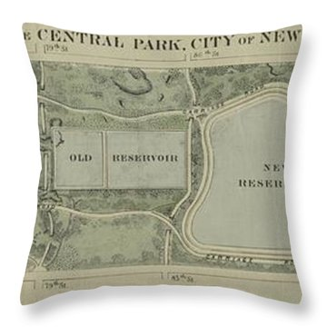 Plan Of Central Park City Of New York 1860 Throw Pillow by Duncan Pearson