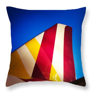 Plane Abstract Red Yellow Blue Throw Pillow by Matthias Hauser