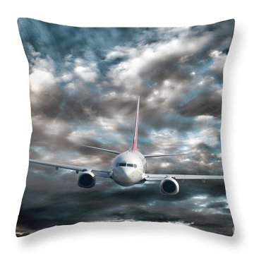 Plane In Storm Throw Pillow by Olivier Le Queinec