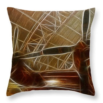 Plane In The Hanger Throw Pillow by Paul Ward