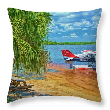 Throw Pillow featuring the photograph Plane On The Lake by Lewis Mann