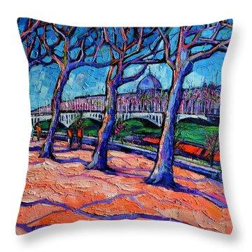 Plane Trees Along The Rhone River - Spring In Lyon By Mona Edulesco Throw Pillow
