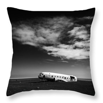 Throw Pillow featuring the photograph Plane Wreck Black And White Iceland by Matthias Hauser