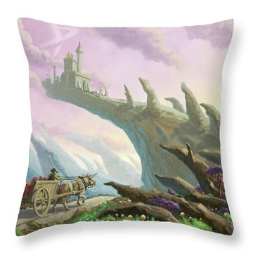Throw Pillow featuring the painting Planet Castle On Arch by Martin Davey