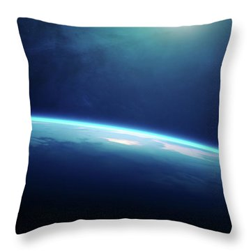 Planet Earth Sunrise From Space Throw Pillow