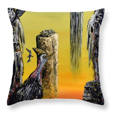 Throw Pillow featuring the painting Planet Of Anomalies by Ryan Demaree