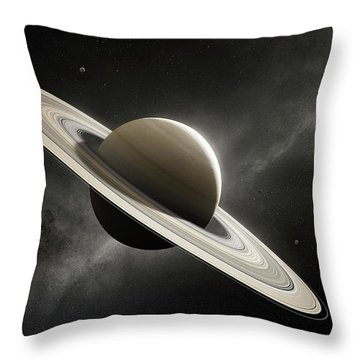 Planet Saturn With Major Moons Throw Pillow