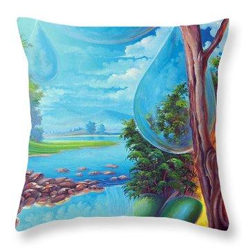 Planeta Agua Throw Pillow by Leomariano artist BRASIL