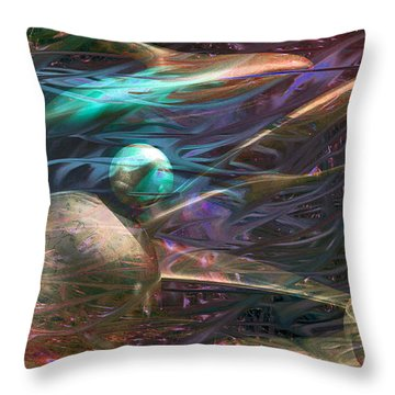 Throw Pillow featuring the digital art Planetary Chaos by Linda Sannuti