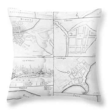 Plans Of The Principle Towers, Forts And Harbors In Ireland  Throw Pillow