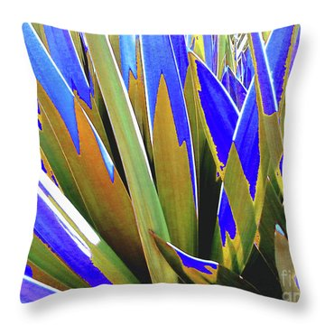 Throw Pillow featuring the photograph Plant Burst - Blue by Rebecca Harman