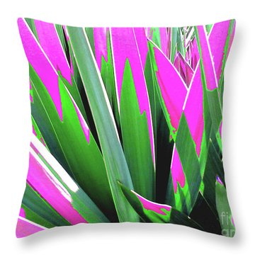Throw Pillow featuring the photograph Plant Burst - Pink by Rebecca Harman