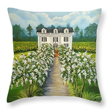 Plantation Home Throw Pillow by Sandra Lett