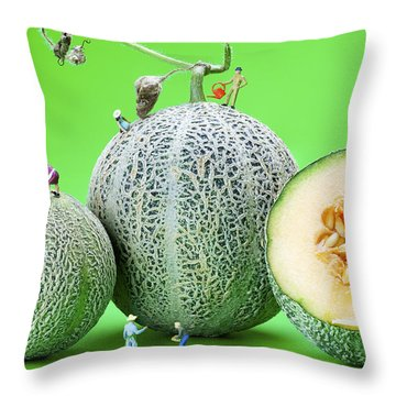 Throw Pillow featuring the photograph Planting Cantaloupe Melons Little People On Food by Paul Ge