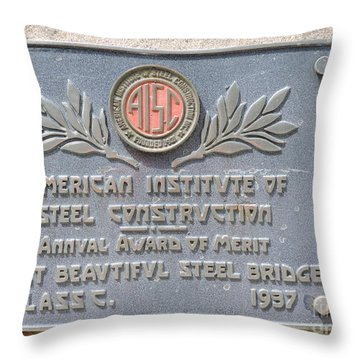 Plaque On Bridge Throw Pillow