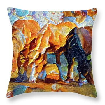 Plastic Horses Throw Pillow