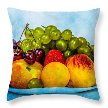 Throw Pillow featuring the photograph Plate Of Fresh Fruits by Alexander Senin