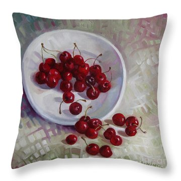Plate With Cherries Throw Pillow