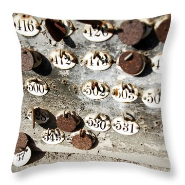 Plates With Numbers Throw Pillow