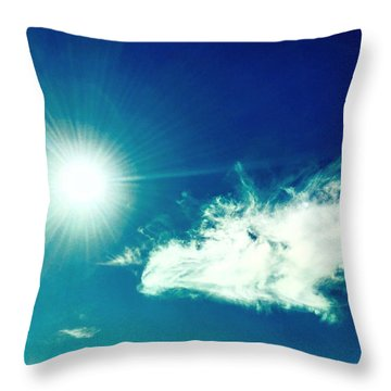 Platinum Rays And Angelic Cloud Bless The Prairie Throw Pillow
