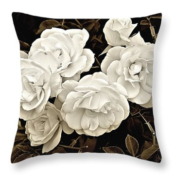 Platinum Roses Throw Pillow