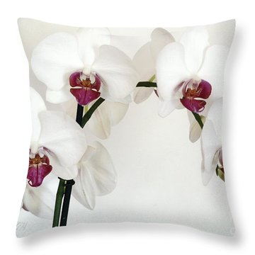 Platnum Beauty Orchids Throw Pillow by Marsha Heiken