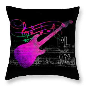Throw Pillow featuring the digital art Play 5 by Guitar Wacky