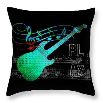 Throw Pillow featuring the digital art Play 4 by Guitar Wacky