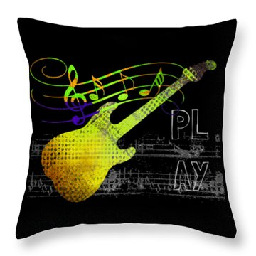 Throw Pillow featuring the digital art Play 2 by Guitar Wacky