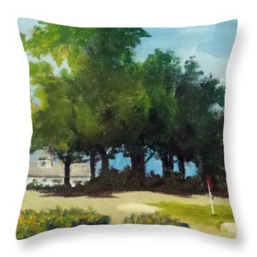 Throw Pillow featuring the painting Play Among The Cottonwoods by Jim Phillips