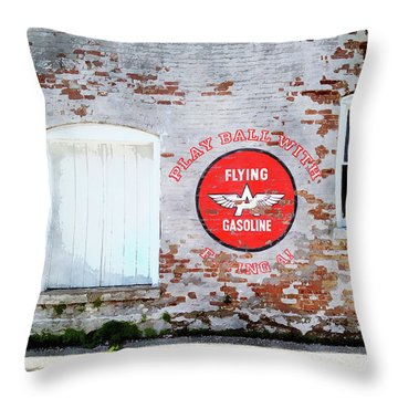 Play Ball With Flying A Throw Pillow by Sandy MacGowan