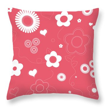 Playful Flower Background Throw Pillow