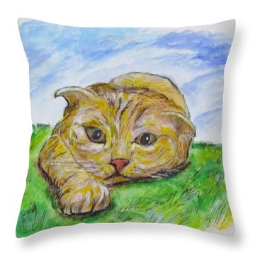 Throw Pillow featuring the painting Play With Me by Clyde J Kell
