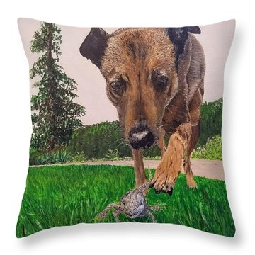 Throw Pillow featuring the painting Play With Me by Kevin Daly