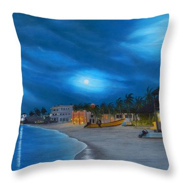 Playa De Noche Throw Pillow