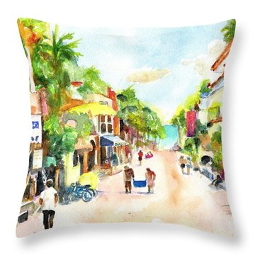 Playa Del Carmen Mexico Shops Throw Pillow