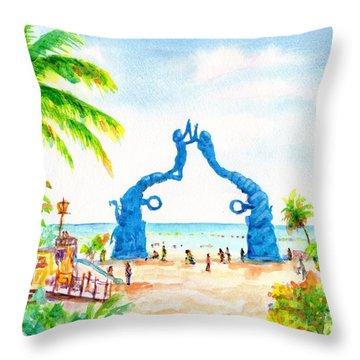 Playa Del Carmen Portal Maya Statue Throw Pillow